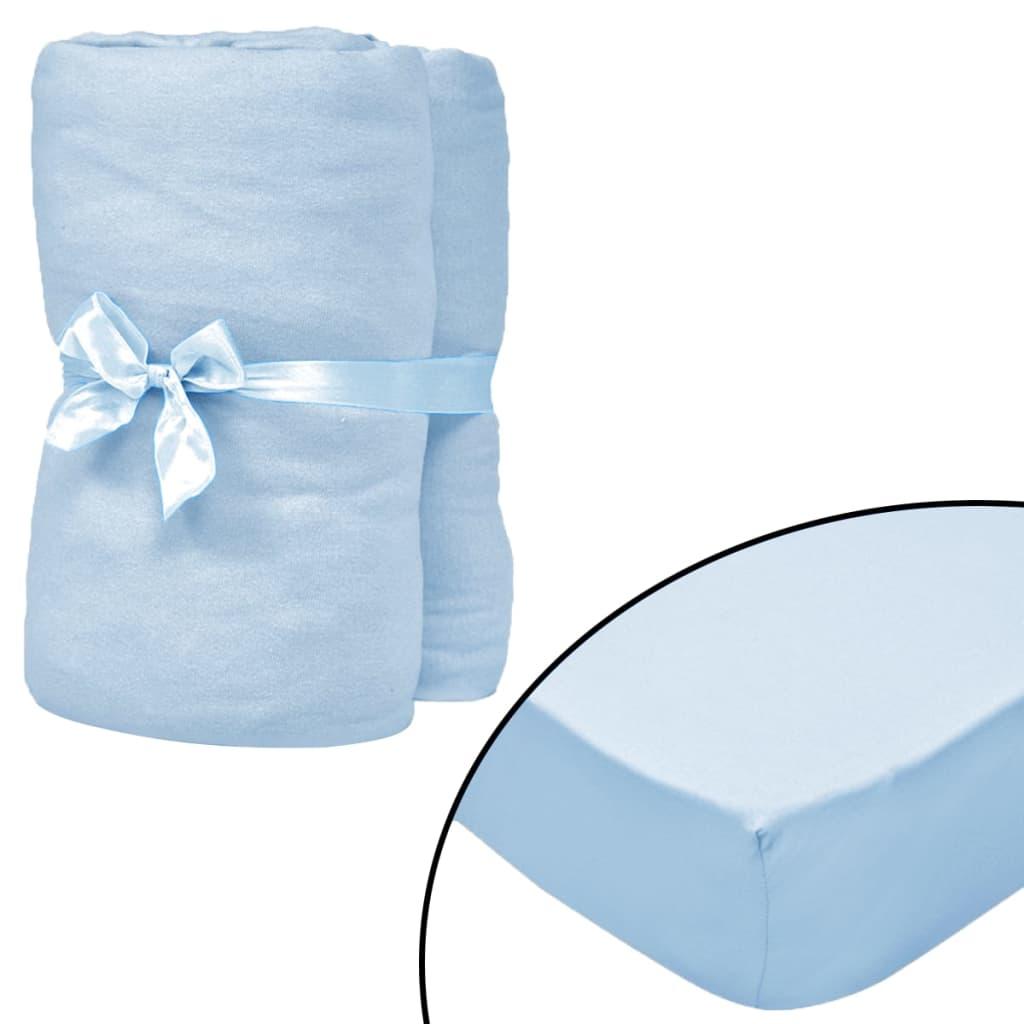 vidaXL Cearșafuri cu elastic pătuț 4 buc bleu jerseu bumbac 70×140 cm