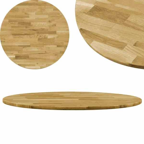 vidaXL Blat de masă, lemn masiv de stejar, rotund, 23 mm, 400 mm