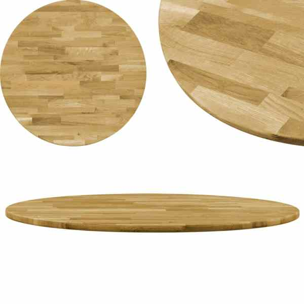 vidaXL Blat de masă, lemn masiv de stejar, rotund, 23 mm, 500 mm