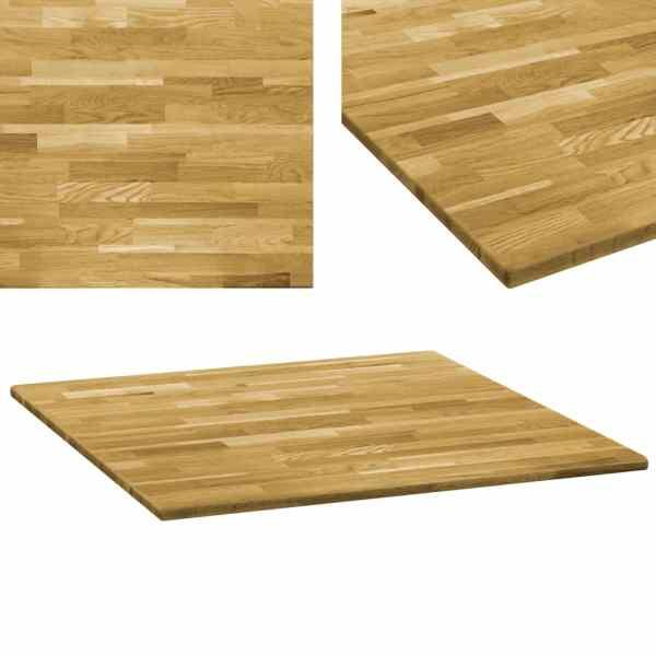 vidaXL Blat de masă, lemn masiv de stejar, pătrat, 23 mm, 80×80 cm