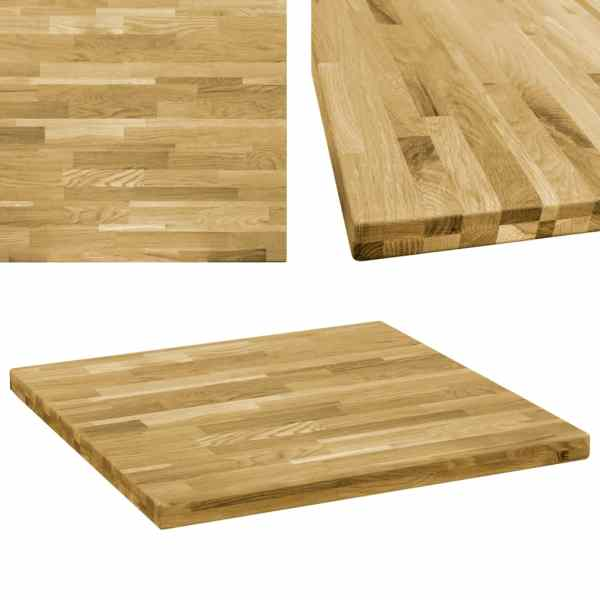 vidaXL Blat de masă, lemn masiv de stejar, pătrat, 44 mm, 70×70 cm