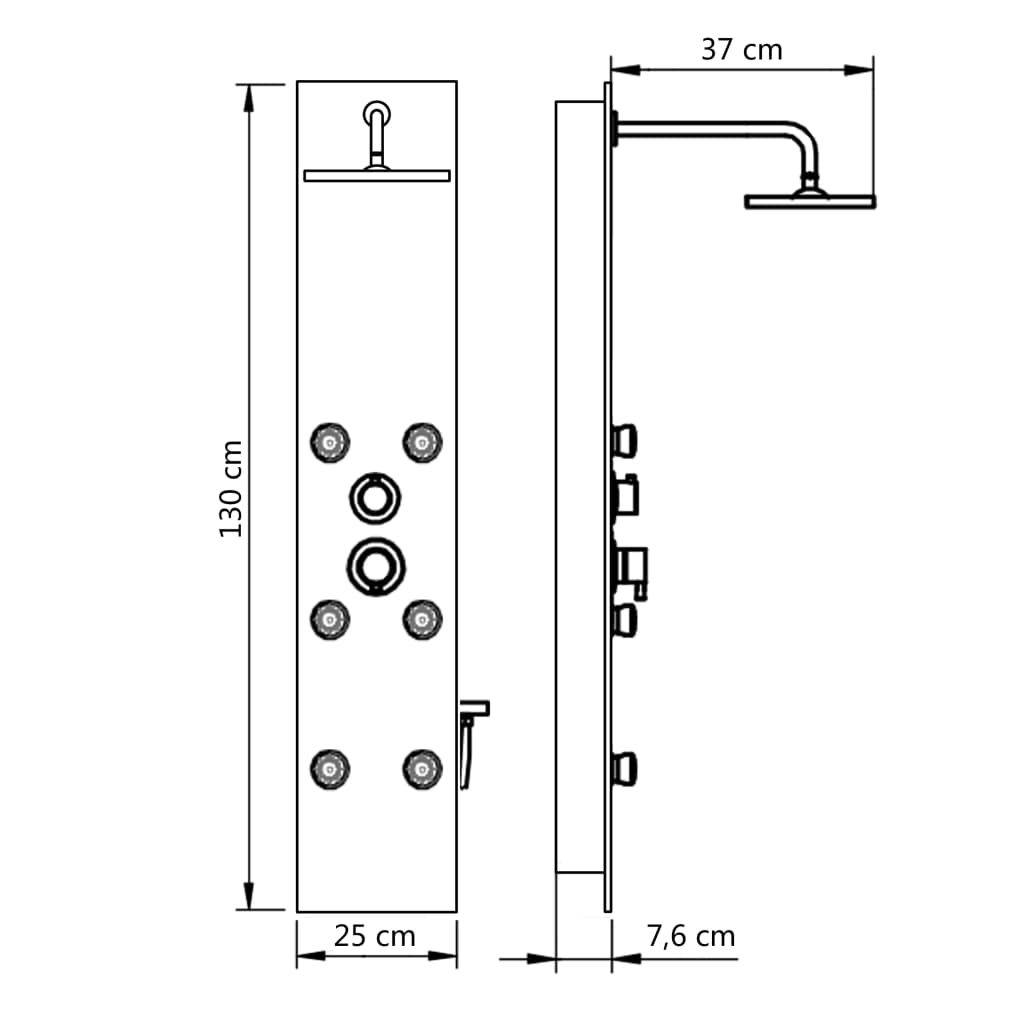 Panou de duș din sticlă, 25×44,6×130 cm, negru