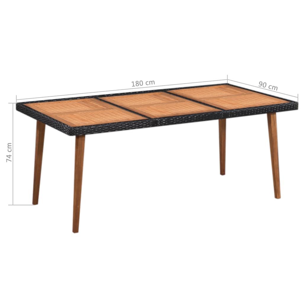 Set mobilier de exterior, 9 piese, negru și maro, poliratan