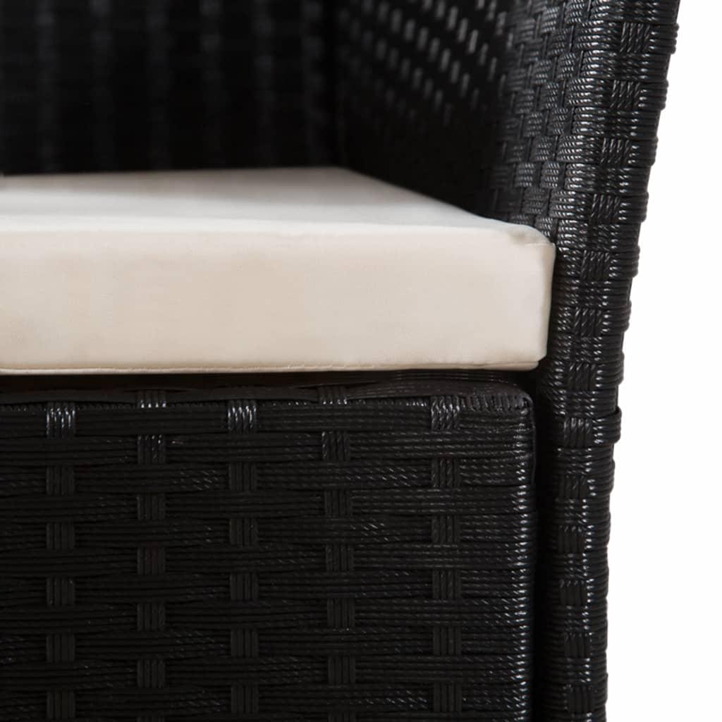 Scaune de exterior cu perne, 2 buc., negru, poliratan