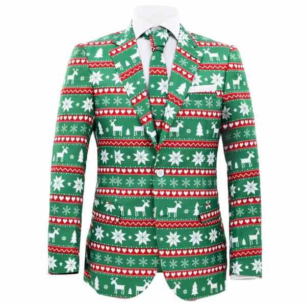 Costum bărbătesc Crăciun, 2 piese, cravată, verde, mărimea 50
