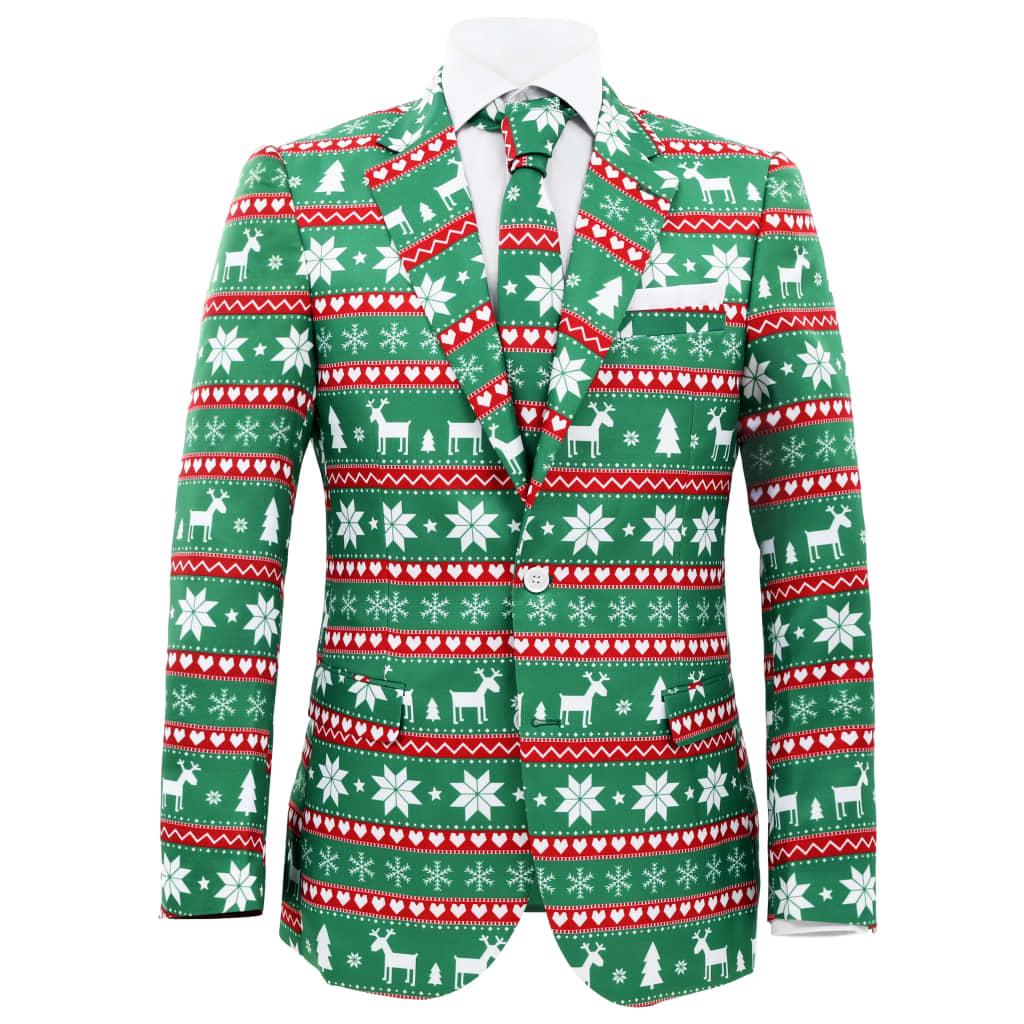 Costum bărbătesc Crăciun, 2 piese, cravată, verde, mărimea 54