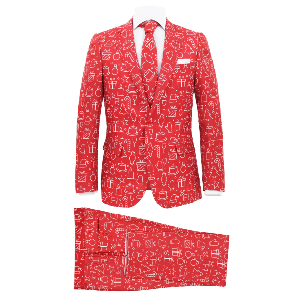 vidaXL Costum bărbătesc Crăciun, 2 piese, cravată, roșu, mărimea 50