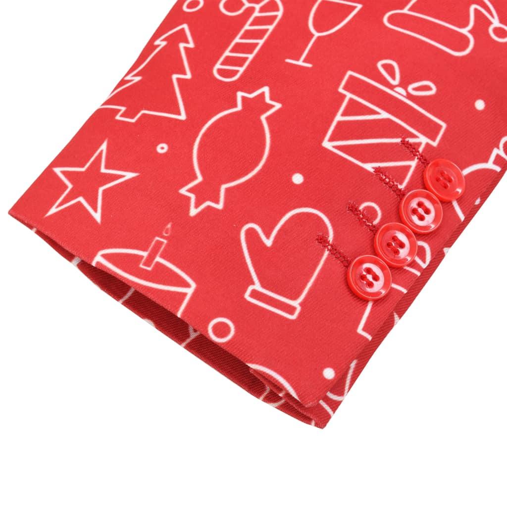 Costum bărbătesc Crăciun, 2 piese, cravată, roșu, mărimea 50