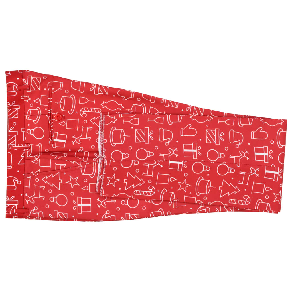 vidaXL Costum bărbătesc Crăciun, 2 piese, cravată, roșu, mărimea 56