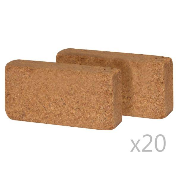 vidaXL Blocuri de fibră din nucă de cocos, 40 buc., 20x10x4 cm, 650 g
