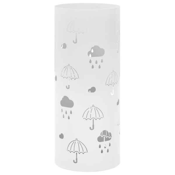 vidaXL Suport pentru umbrele, imprimeu umbreluțe, oțel, alb