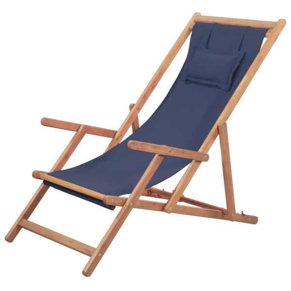vidaXL Scaun de plajă pliabil, albastru, textil și cadru din lemn