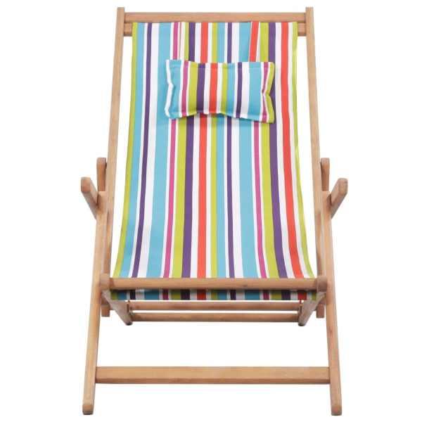 Scaun de plajă pliabil, multicolor, textil și cadru din lemn
