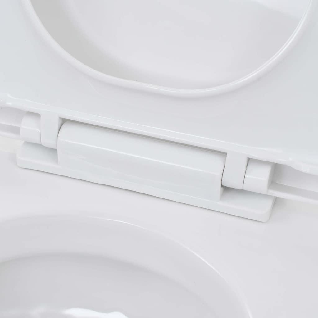 vidaXL Toaletă cu montare pe perete, ceramică, alb