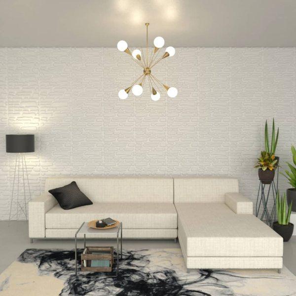 vidaXL Panou de perete 3D, 12 buc., 0,8 x 0,625 m, 6 m²