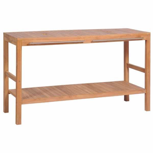 vidaXL Dulap de chiuvetă baie, lemn masiv de tec, 132 x 45 x 75 cm