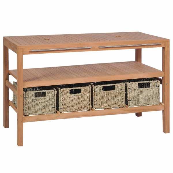 Dulap de chiuvetă cu 4 coșuri, lemn de tec masiv, 132x45x75 cm