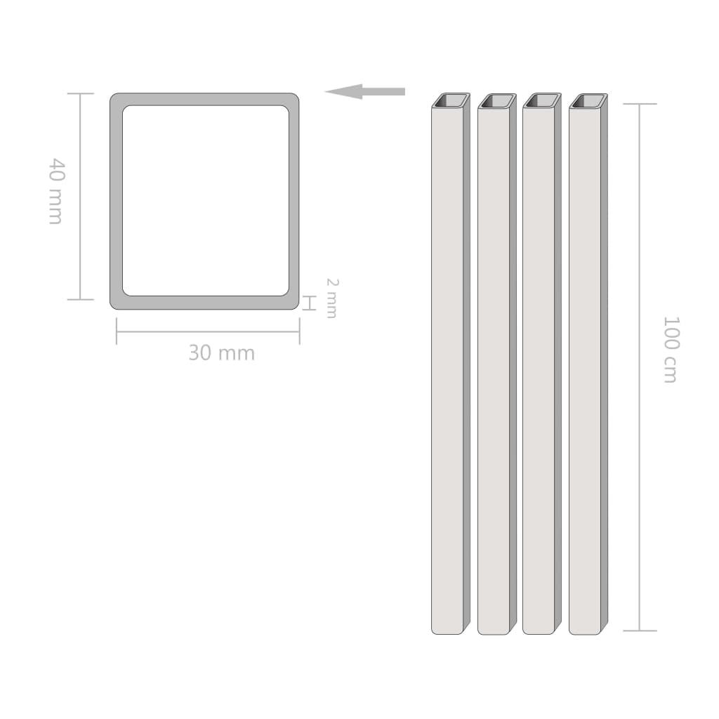 vidaXL Tuburi din oțel structural 4 buc, dreptunghiular 1m, 40x30x2 mm