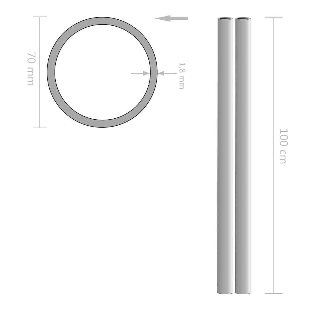 Tuburi din oțel inoxidabil 2 buc. Ø70×1,8mm, rotund, V2A 1m