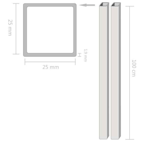 vidaXL Tuburi din oțel inoxidabil 2 buc. 25x25x1,9 mm pătrat V2A, 1 m