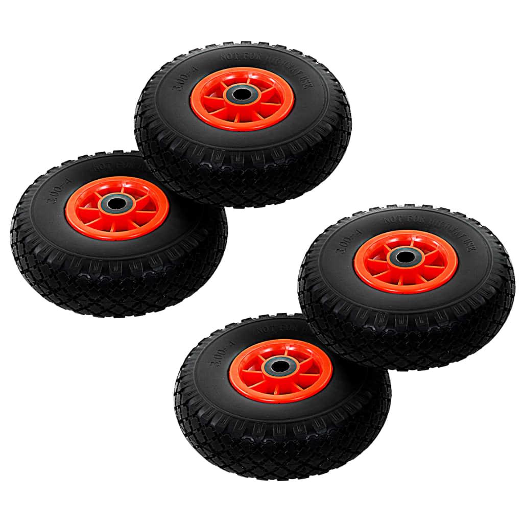 vidaXL Roți de cărucior industrial, 4 buc., PU 3.00-4 (260×85)