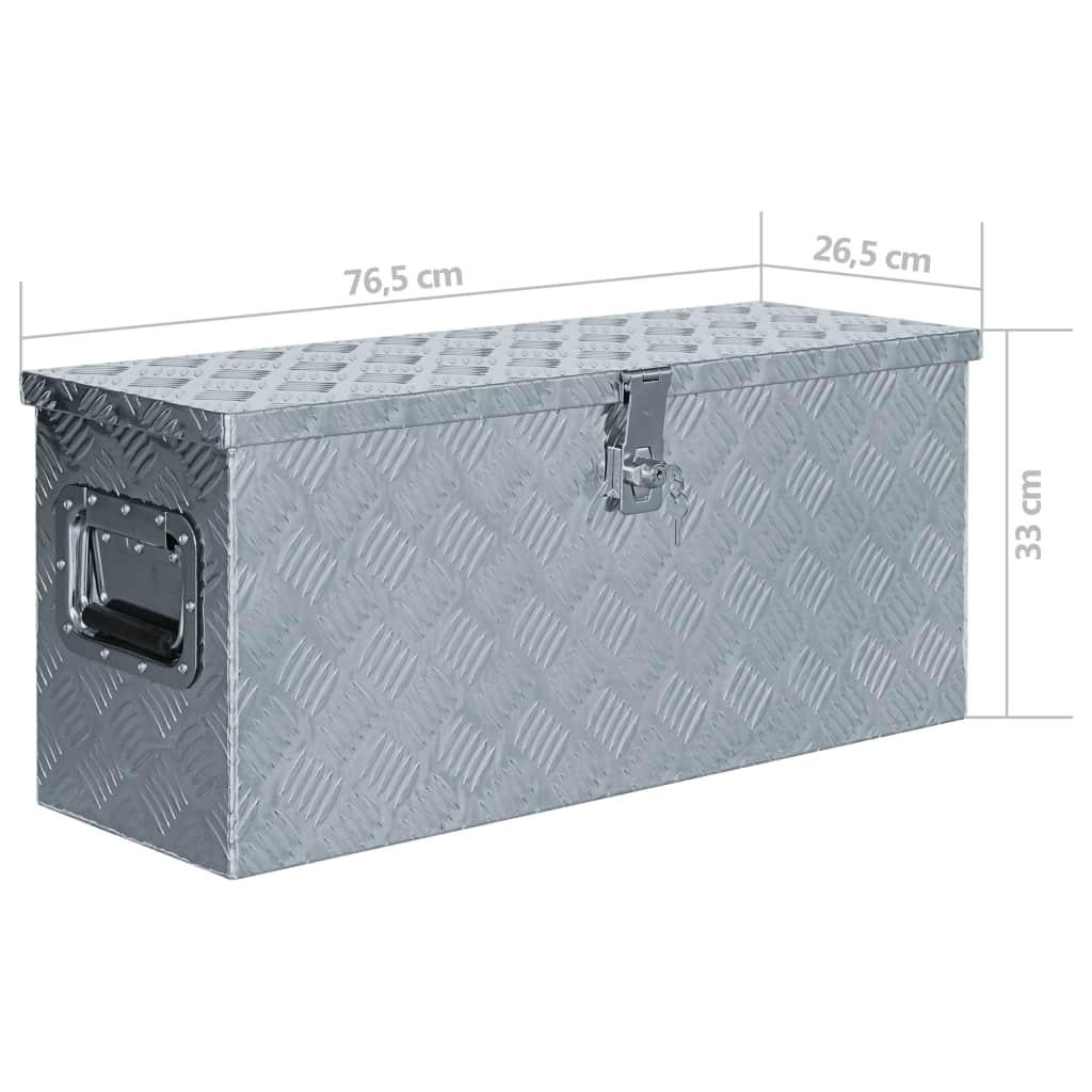 Cutie din aluminiu, 76,5 x 26,5 x 33 cm, argintiu