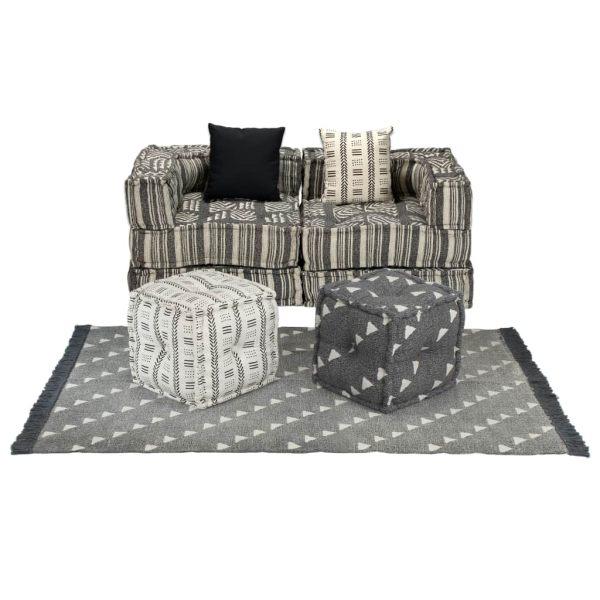 vidaXL Set canapea modulară, 9 piese, material textil, dungi
