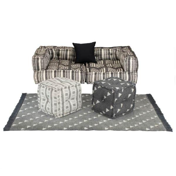 vidaXL Set canapea modulară, 6 piese, material textil, dungi