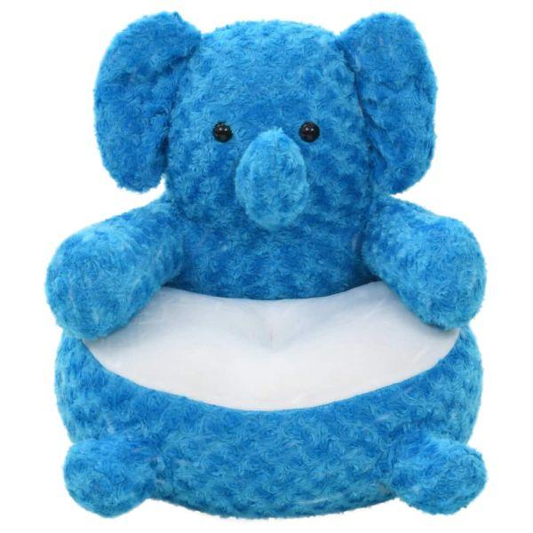 vidaXL Elefant de jucărie, albastru, pluș