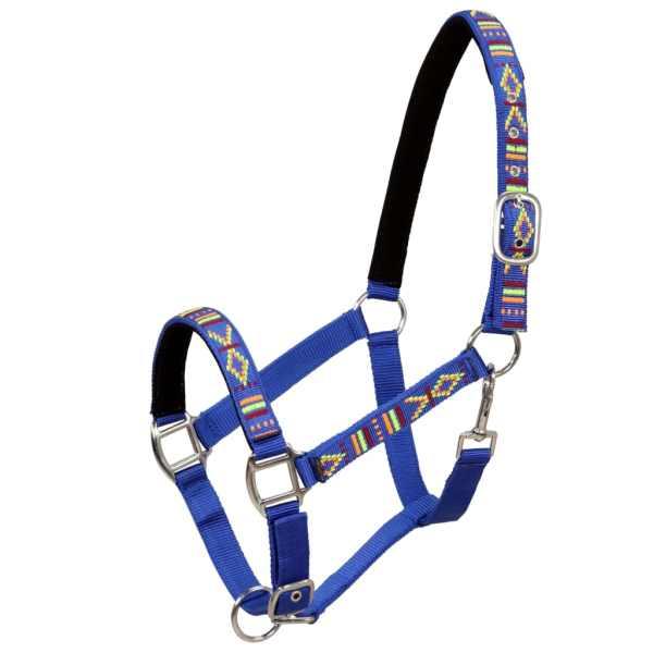 vidaXL Căpăstre cai, 2 buc., albastru, mărime full, nailon