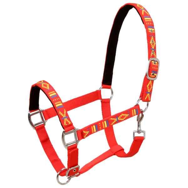 vidaXL Căpestre cai, 2 buc., roșu, mărime ponei, nailon