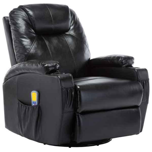vidaXL Fotoliu de masaj balansoar, negru, piele ecologică