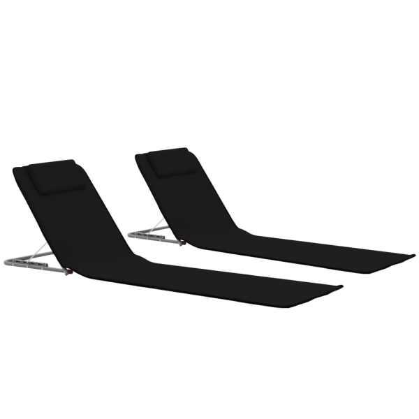 vidaXL Saltele plajă pliabile, 2 buc., negru, oțel și țesătură