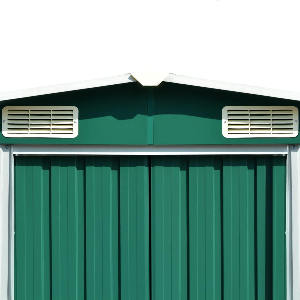 vidaXL Șopron de grădină, 257 x 497 x 178 cm, metal, verde