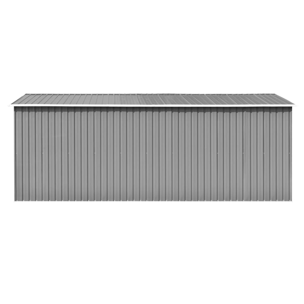 vidaXL Șopron de grădină, 257 x 497 x 178 cm, metal, gri