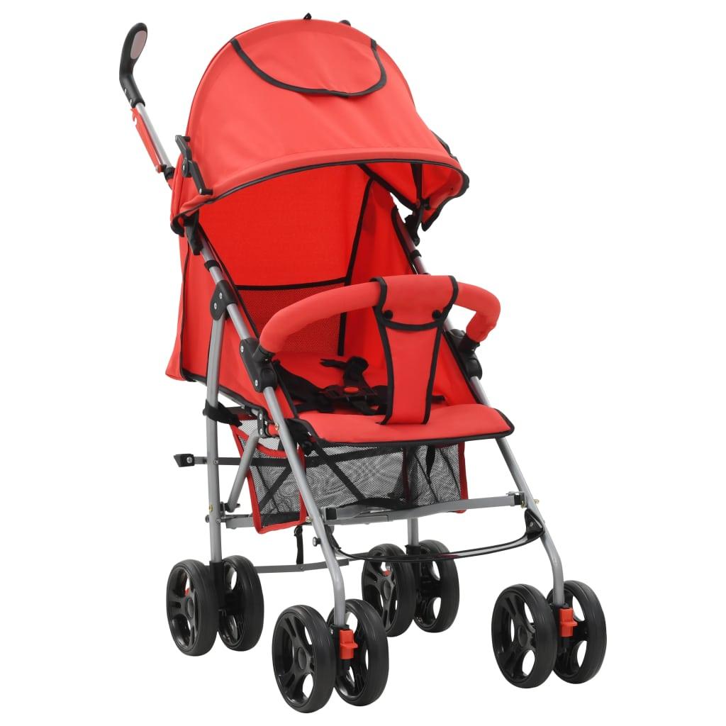 vidaXL Landou/cărucior pliabil copii 2-în-1, roșu, oțel