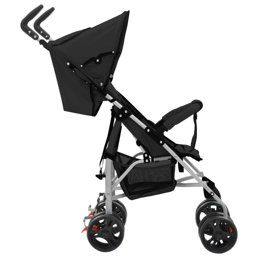 vidaXL Landou/cărucior pliabil copii 2-în-1, negru, oțel