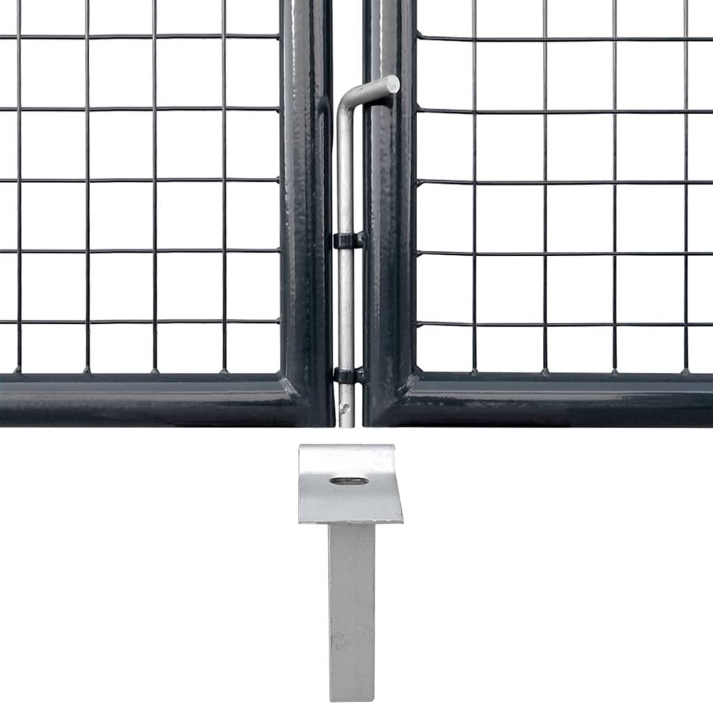 vidaXL Poartă din plasă grădină, oțel galvanizat, 400 x 100 cm, gri