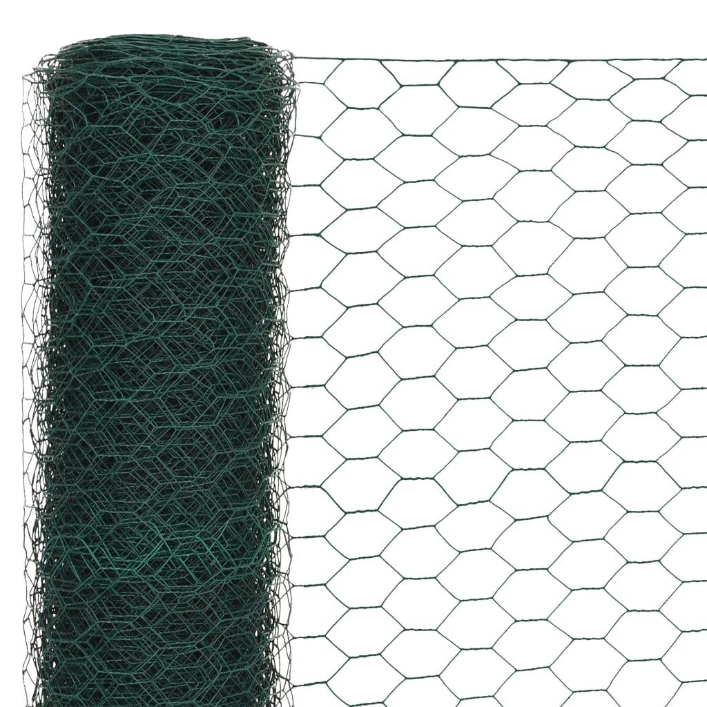 Plasă de sârmă găini, verde, 25 x 1,5 m, oțel cu înveliș PVC
