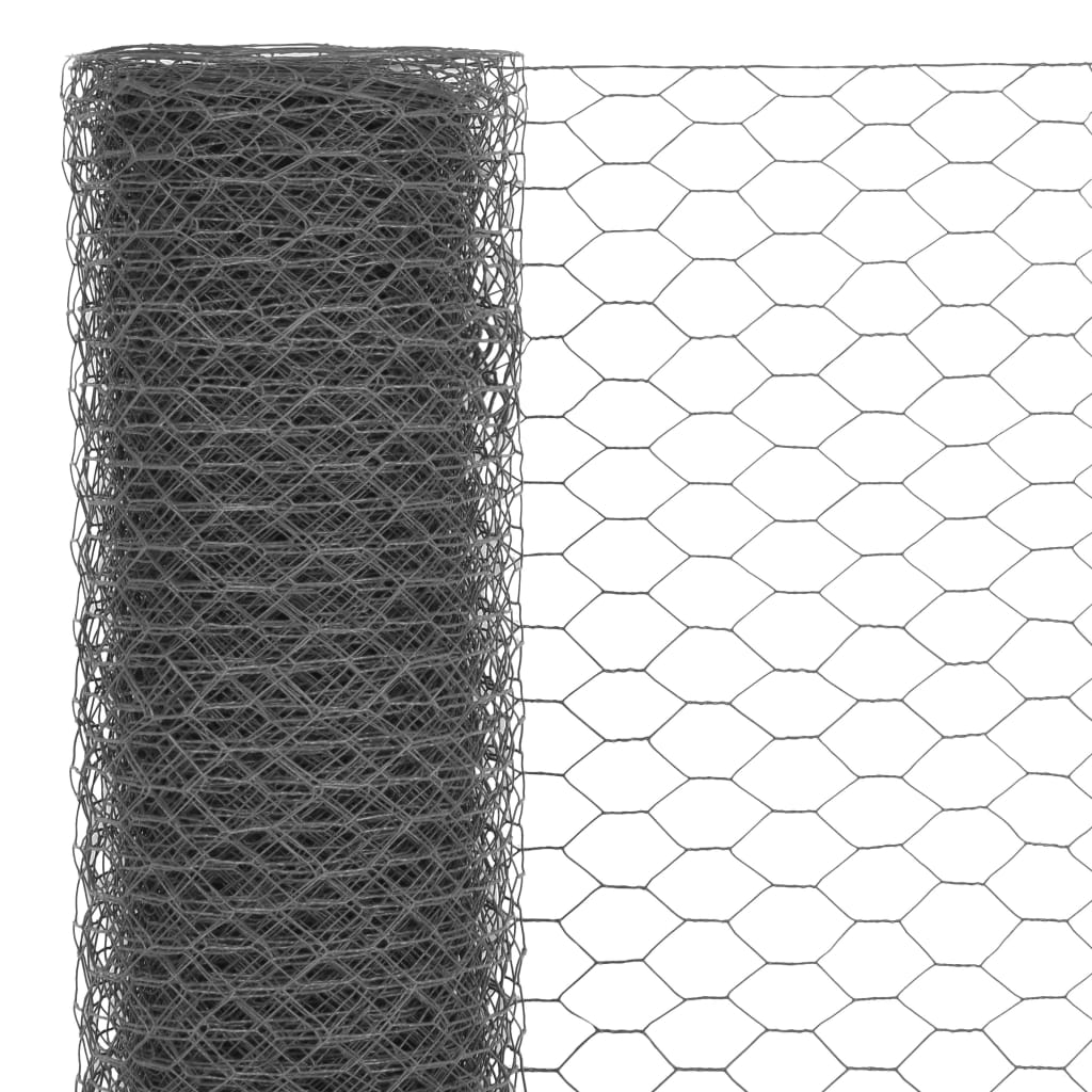 vidaXL Plasă de sârmă găini, gri, 25 x 1,2 m, oțel cu înveliș PVC
