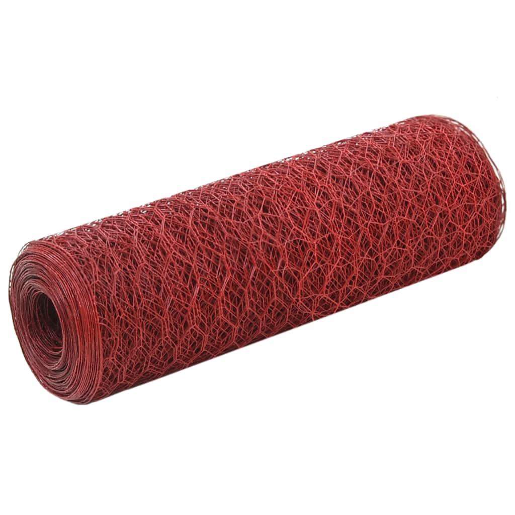 vidaXL Plasă de sârmă găini, roșu, 25 x 0,5 m, oțel cu înveliș PVC