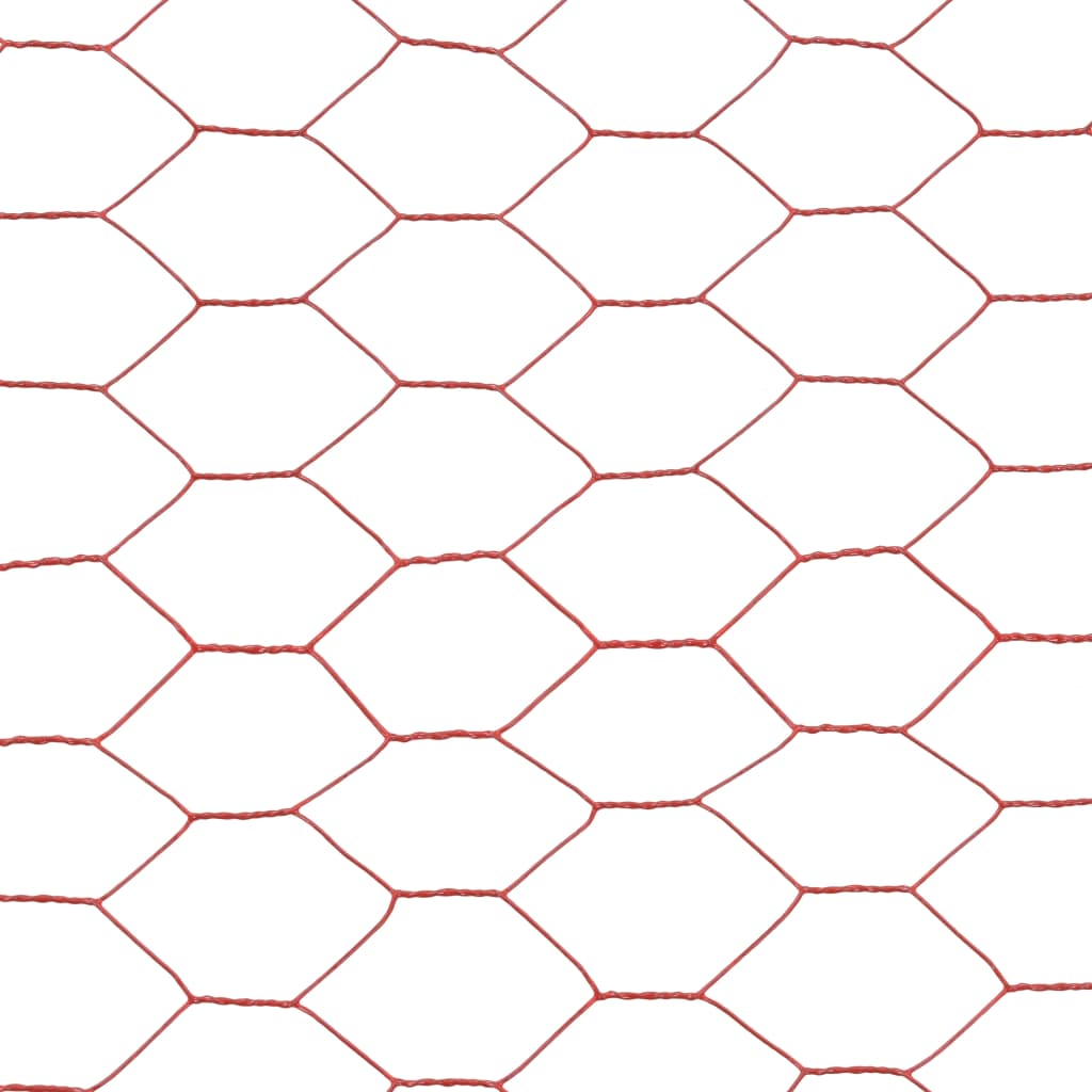 Plasă de sârmă găini, roșu, 25 x 0,75 m, oțel cu înveliș PVC