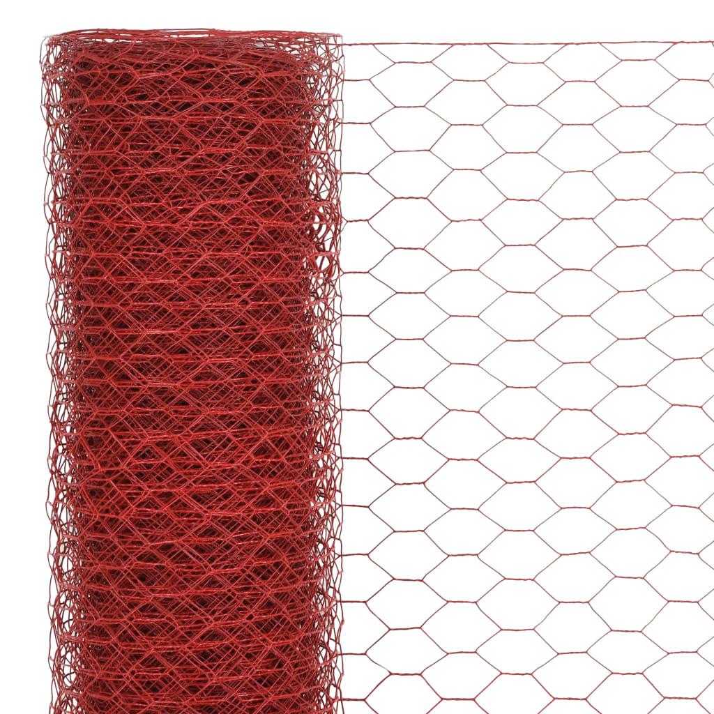 Plasă de sârmă găini, roșu, 25 x 1,5 m, oțel cu înveliș PVC