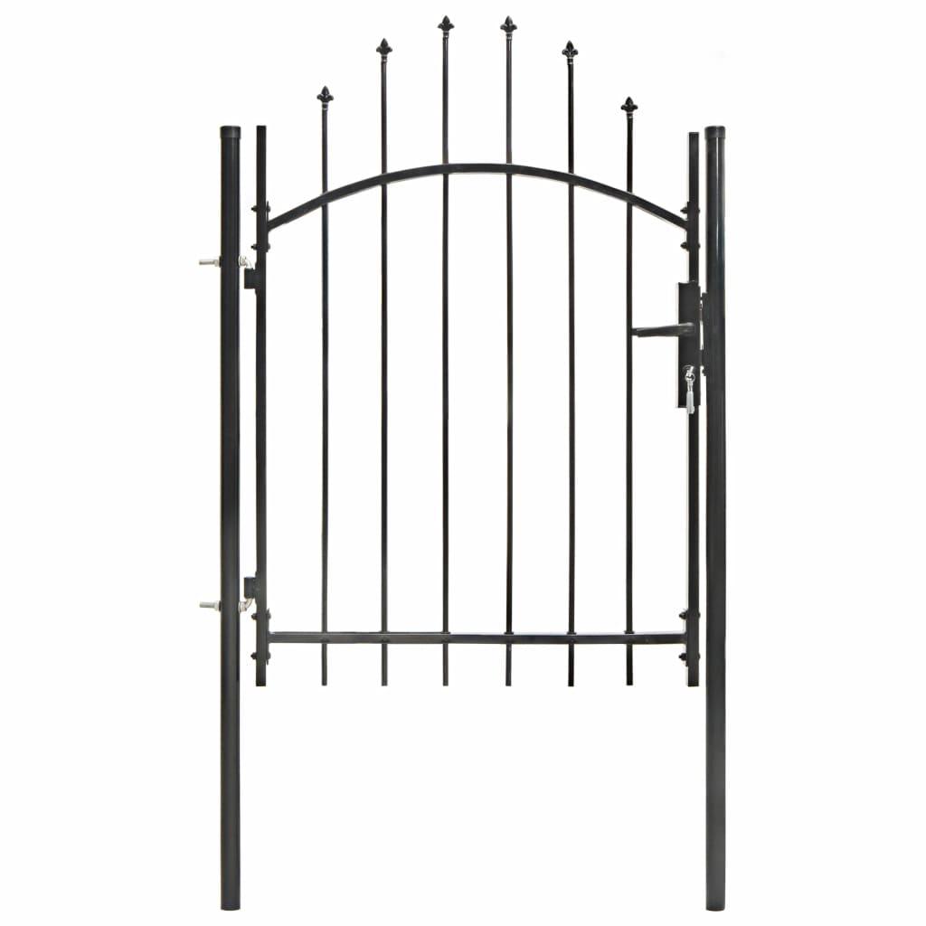 vidaXL Poartă de grădină, negru, 1 x 1,75 m, oțel