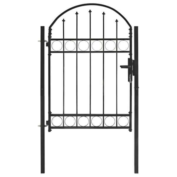 vidaXL Poartă de gard cu arcadă, negru, 100 x 125 cm, oțel