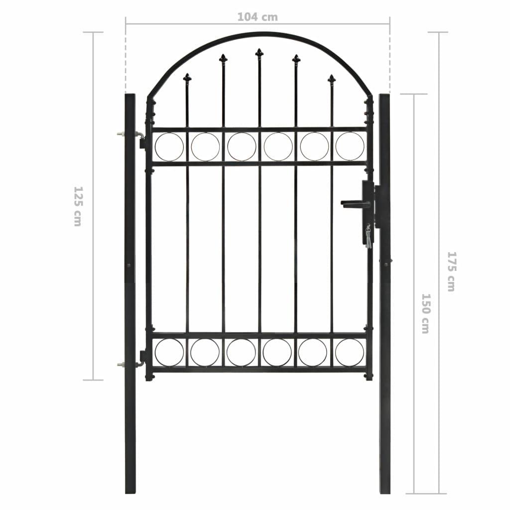 Poartă de gard cu arcadă, negru, 100 x 125 cm, oțel