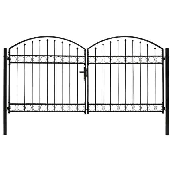 vidaXL Poartă de gard dublă cu vârf în arcadă, negru, 300×125 cm, oțel