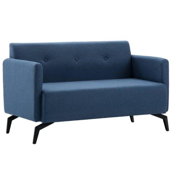 vidaXL Canapea 2 locuri, tapițerie textilă, 115 x 60 x 67 cm albastru
