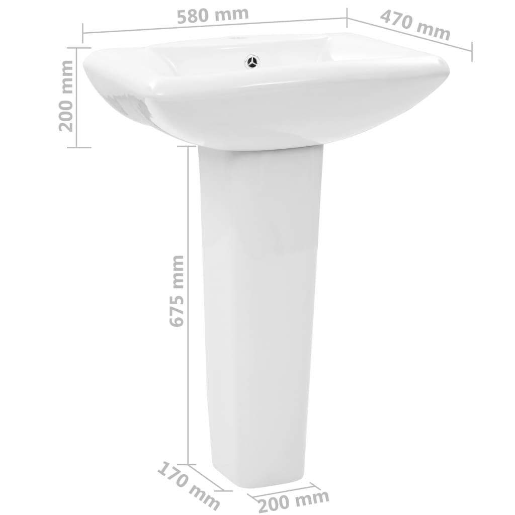Lavoar cu piedestal, alb, 580 x 470 x 200 mm, ceramică