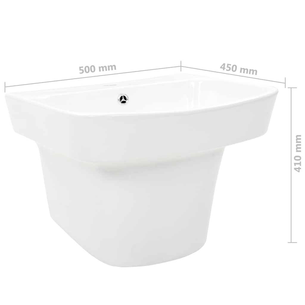 Chiuvetă de perete, alb, 500 x 450 x 410 mm, ceramică